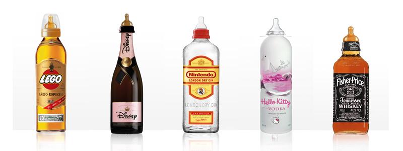 Des bouteilles d'alcool pour les enfants